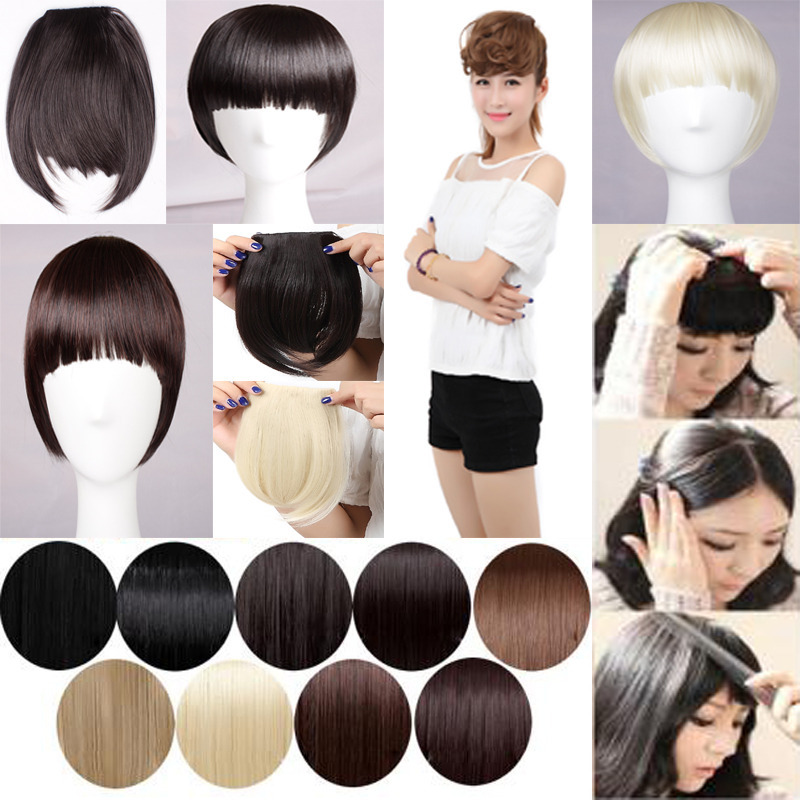 Pretty Girls Clip On Clip In Front Hair Bang Fringe Hair Extension Straight 16 Any colors 3-5 day delivery <br><br>Aliexpress