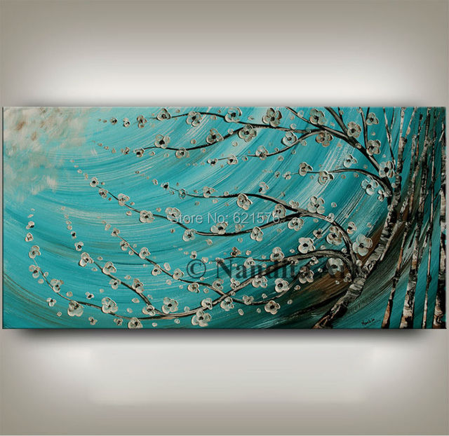Hand painted modern wall art picture home decor abstract blue ...