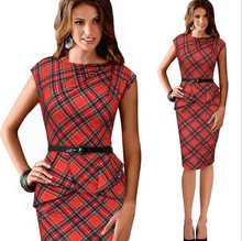 Spring Lady Vintage Tartan Red New Year Fitted Dress O Neck 3/4 Sleeve Belt Peplum Casual Zipper Pencil Dress L105