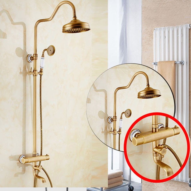 Brass Thermostatic Shower Faucet Mixing Valve Dual Handle: Brass Antique Thermostatic Mixer Valve Shower Set Faucet