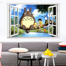 Buy My Neighbor Totoro 3D Window Effect Art Decal Wall Sticker Mural Children's Kids Bedroom Decorative Home Decor Decal Poster for $3.11 in AliExpress store