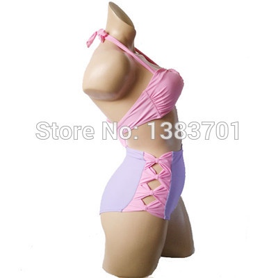 High-grade pink hollow-out high-waisted bikini women good quality new style bathing suits 3003 - Golden dream mall store