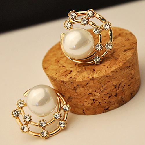 Hot! Korean Fashion Womens Jewelry Crystal Rhinestone Faux Pearl Ear Stud Earrings<br><br>Aliexpress