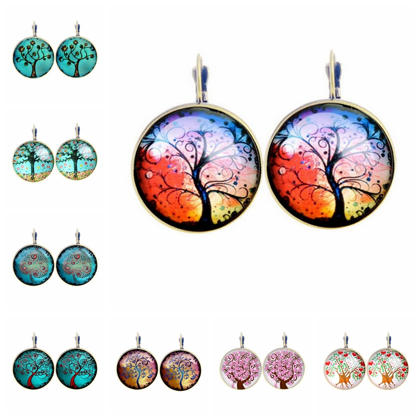 Fashion New 2015 Life Wisdom Tree Stud Pendientes Earring For Women Glass Cabachon Brincos Perola Art Photo Dome Round Earrings(China (Mainland))