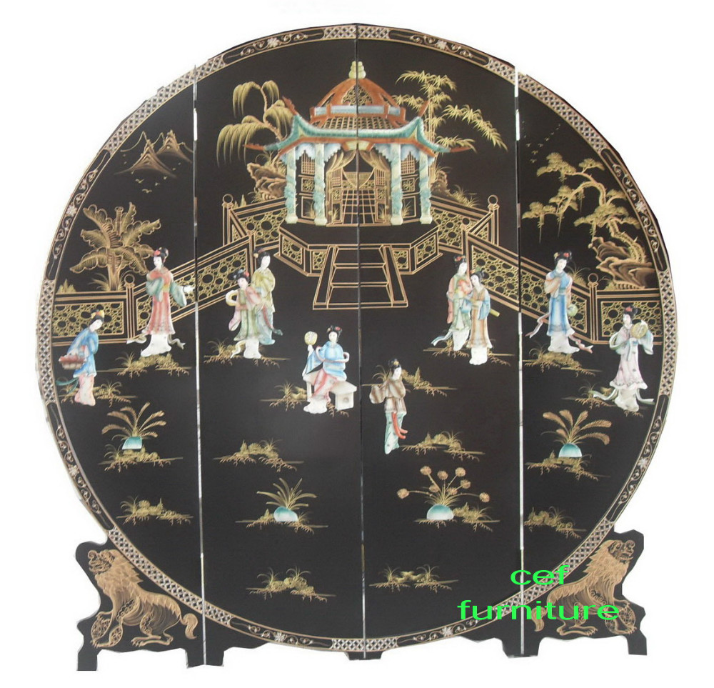 Mother Of Pearl Inlay Round Hand Painted Screen Room