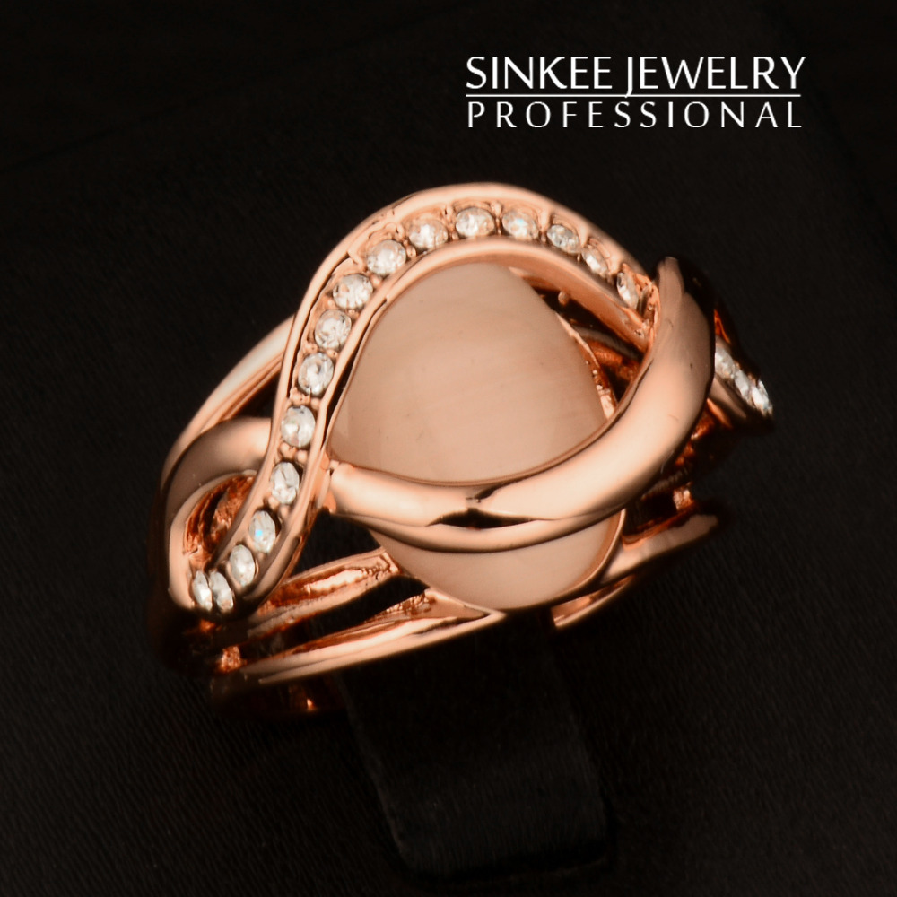 Luxury Round Opal Solid Engagement Rings For Women Wedding Party Jewelry Size