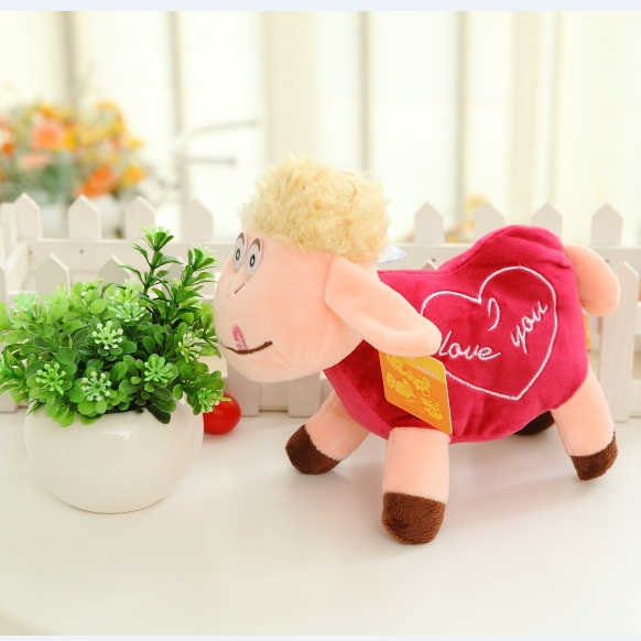 2015 New Year Mascot 23CM Pink Love Heart Goat Sheep Stuffed Plush Toys Baby Lovely Brinquedos Factory Price Free Ship PSY016C(China (Mainland))
