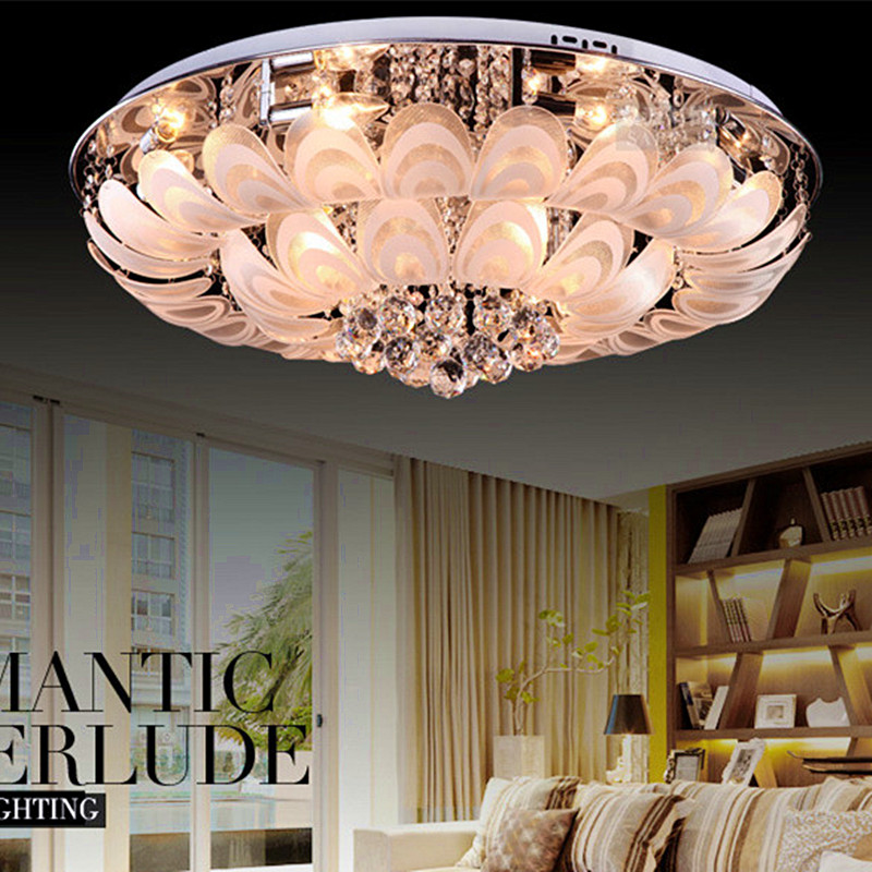 New Design LED peacock modern minimalist living room ceiling lights bedroom lamp restaurant Luxury lamp Round Crystal(China (Mainland))