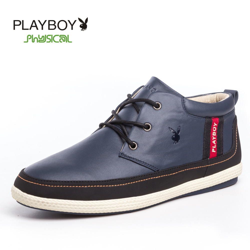 PLAYBOY fashion winter warm mens casual boots genuine leather outdoor men shoes luxury brand ankle boot - Feng shang co., LTD store