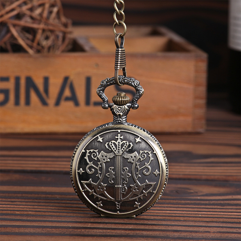 Vintage Antique Style Gun Black Unisex Crown Kuroshitsuji Black Butler Cover Pattern Quartz Pocket Watch Necklace