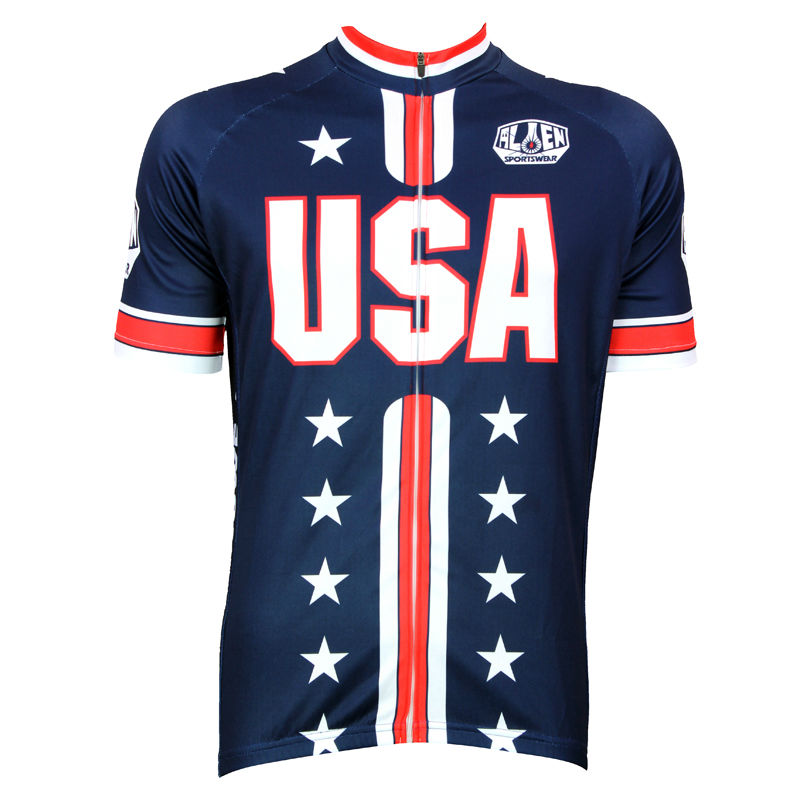 New Pro Team Full zipper Cycling Jersey Comfortable Bike/Bicycle Shirt USA Flag Alien SportsWear cycling clothing Free shipping(China (Mainland))