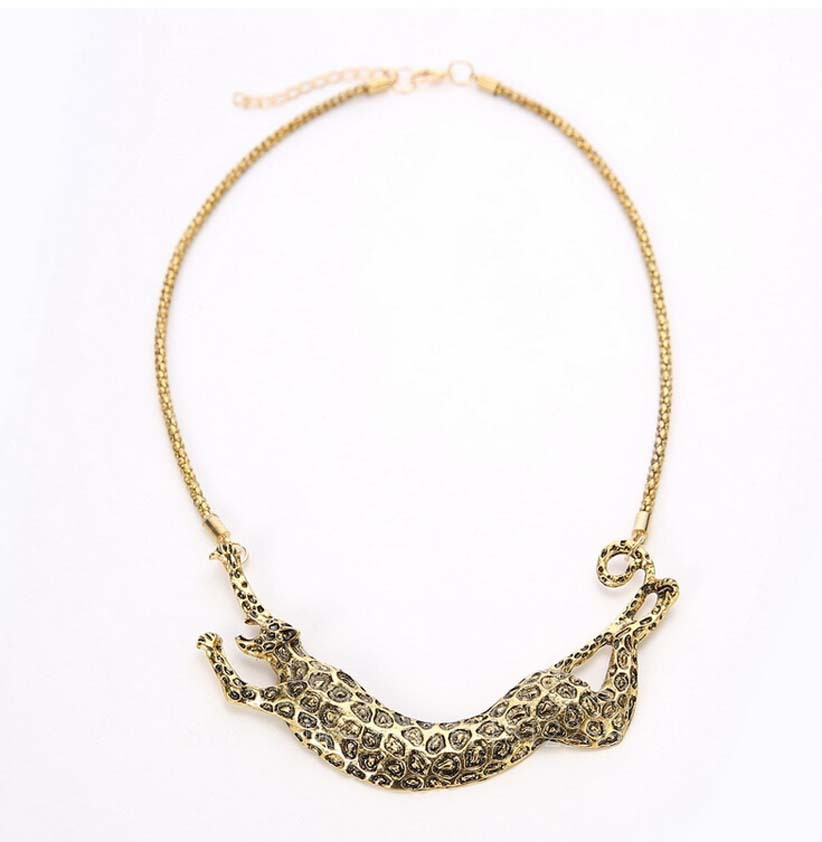 2015 fashion The new leopard necklace restoring ancient ways lady Plated Holiday Party cxt8571(China (Mainland))