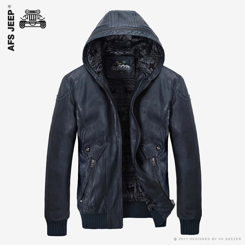 2017 New PU Leather Jacket Men Hooded Brand Long Warm Winter Leather Jackets Coats High Quality Business Slim Fit Parka Male
