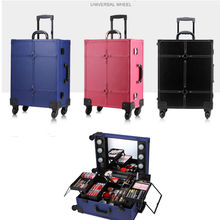 Trolley Makeup Box with Lights Professional Beauty Case Station without legs 6 led Bulbs three colors(China (Mainland))