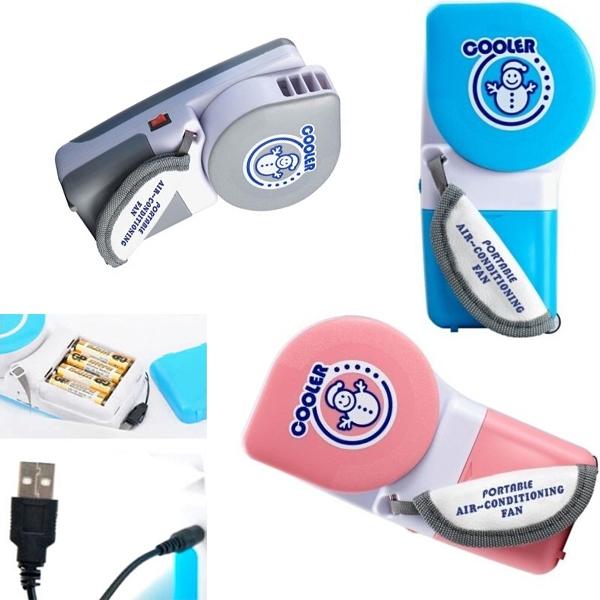 Гаджет  1PCS Free Shipping Cute Small Fan Battery/USB Dual Mini Fan Handheld Air Conditioning Conditioner Cooler Fan None Бытовая техника
