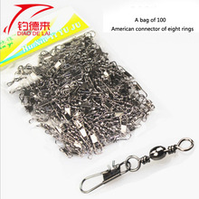 100 a bags High quality  fishing fast pin connector of 8 ring type swivel linker Fishing gadgets accessories