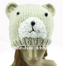 Beige Cute Women's Ladies Animal Bear Hat Knitting Cap, Free Shipping(China (Mainland))