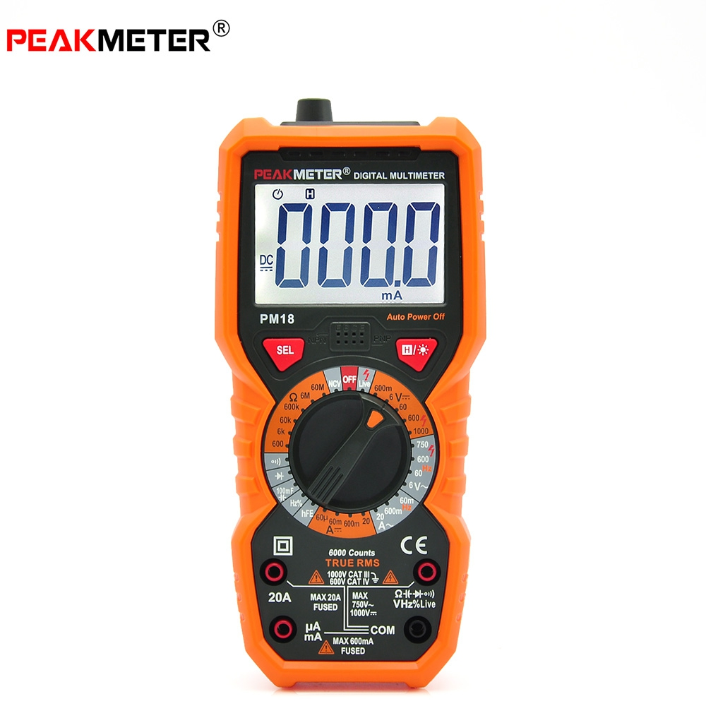 New Arrival PEAKMETER PM18 High Precision Handheld Digital Multimeter AC / DC Voltage Current Capacitance With Led Flashlight(China (Mainland))