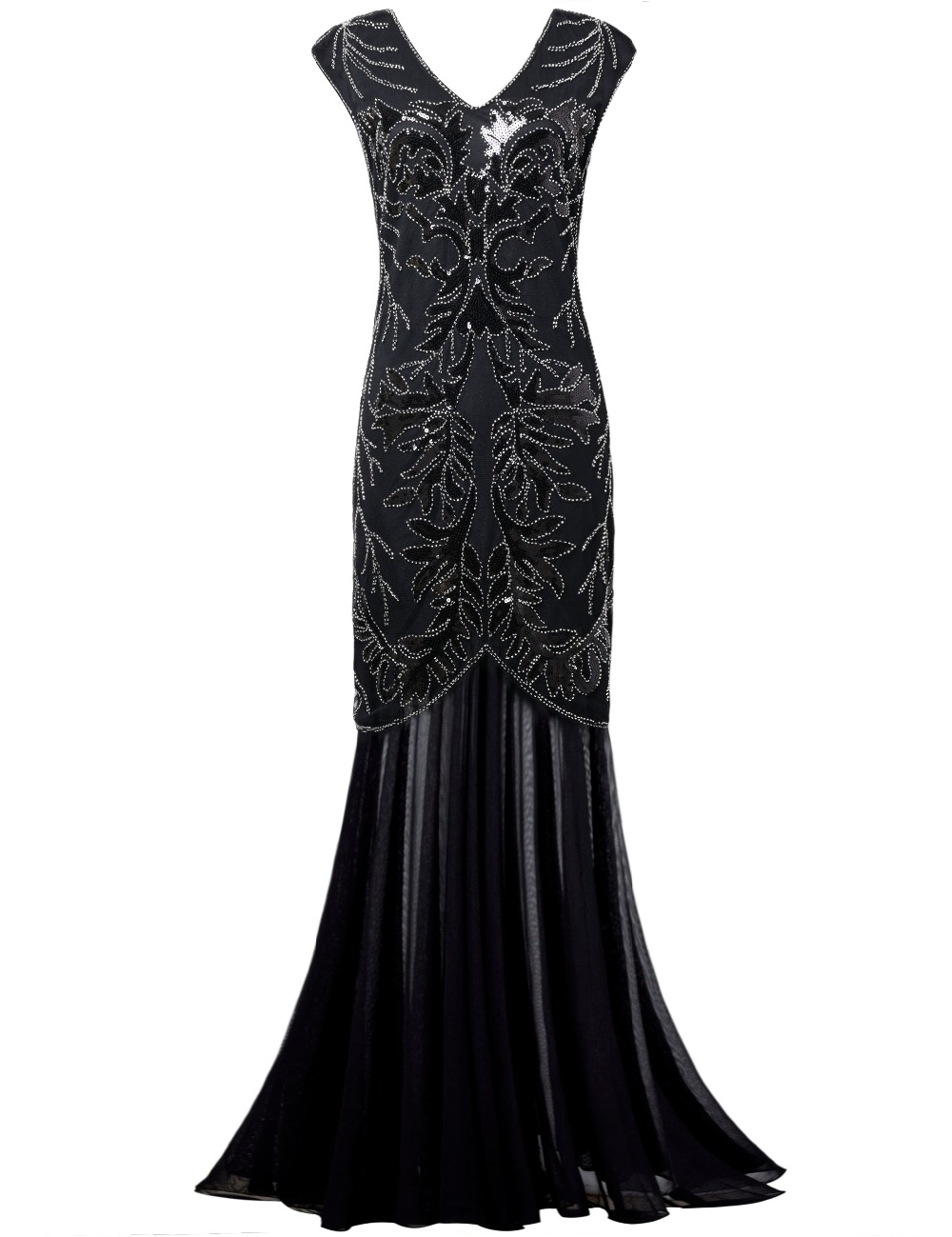 PrettyGuide Women's 1920s Sequin Maxi Long Black Cocktail Prom Gatsby Dress Ball Gown Party Dress(China (Mainland))