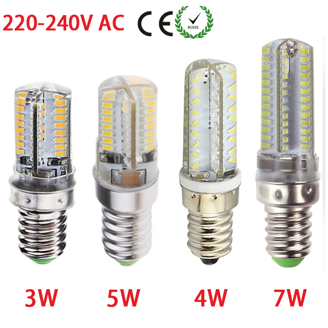 Silicon E14 Led Home Light Spotlight Chandelier 64/72//80/104 SMD 3014 Corn Bulb 220V 230V 240V AC(China (Mainland))