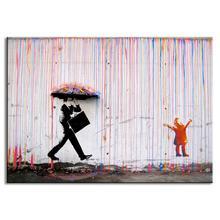 Banksy Art Colorful Rain wall canvas wall art living room wall decor painting,Banksy colored rain print canvas picture abstract(China (Mainland))