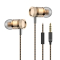 mobile phone In ear Headphone metal body snakeskin cable 3 5mm transparent box
