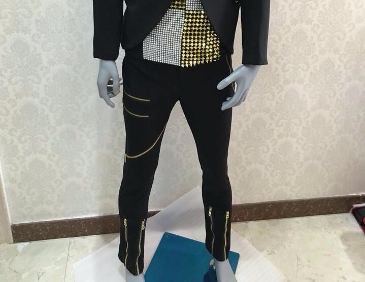 HTB1Mc1ELpXXXXaKXXXXq6xXFXXXo - Fashion Black Men's Slim Casual Suits Set Male Rhinestone Rivets Stage Performance Blazers Nightclub Singer Jazz Prom Costumes