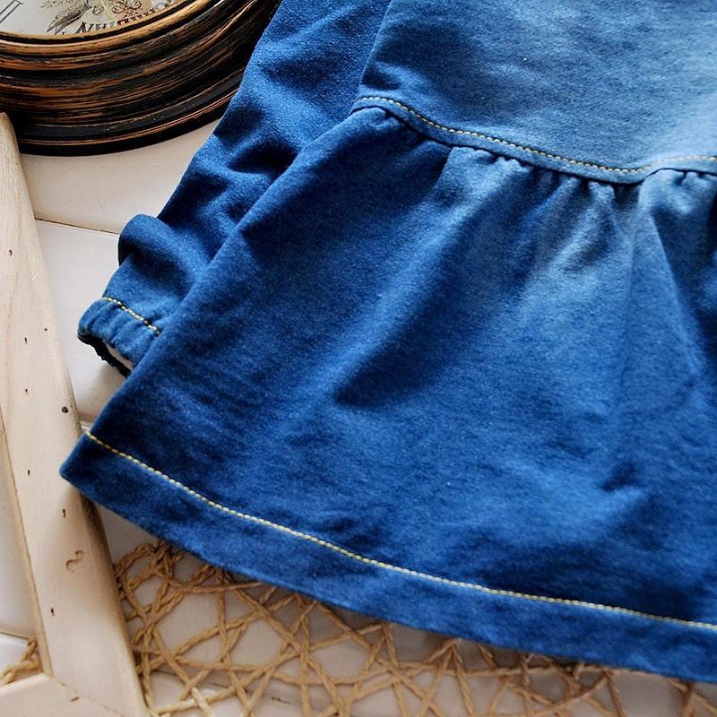 2016 Spring Girls Denim Shirts Long Sleeve Cartoon Blouse Casual Fashion Chemise Enfant Retail