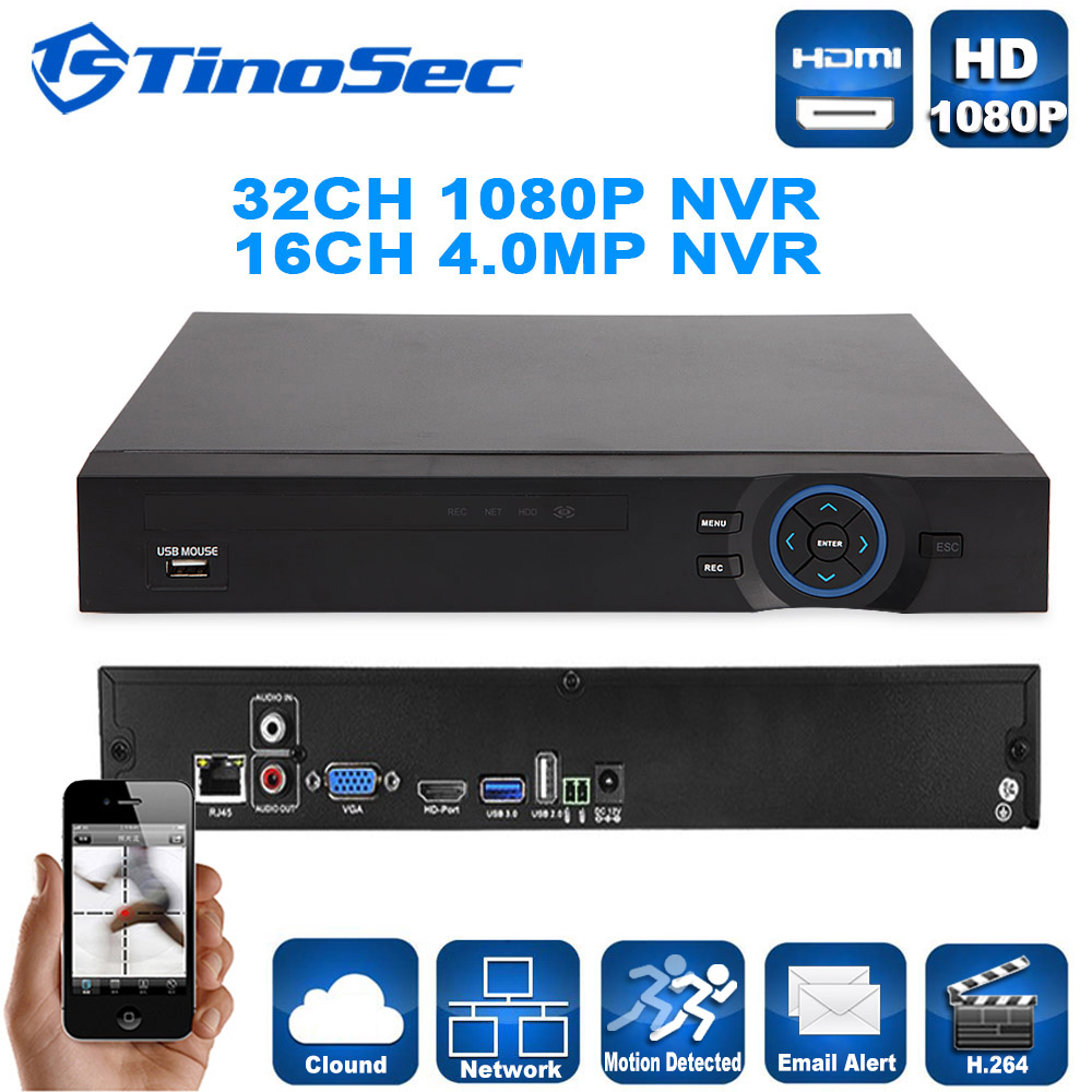 Tinosec 32CH 1080P/8CH 5MP/16CH 4MP Onvif Network Video Recorder H.264 Portable HD HDMI 1080P NVR For IP Camera P2P CCTV NVR(China (Mainland))