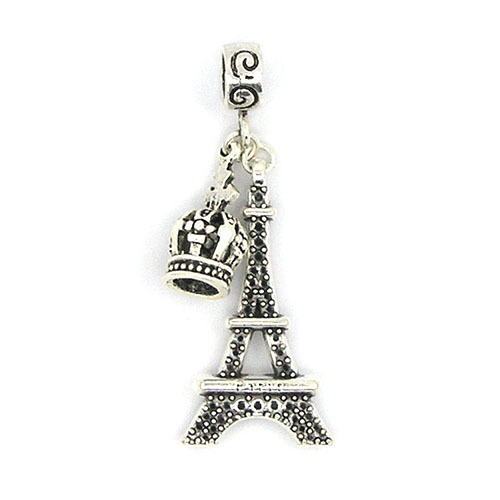 New European Crown Tower Pendant Alloy Silver Bead Charm Fit Pandora Women DIY Bracelets Bangles Necklace