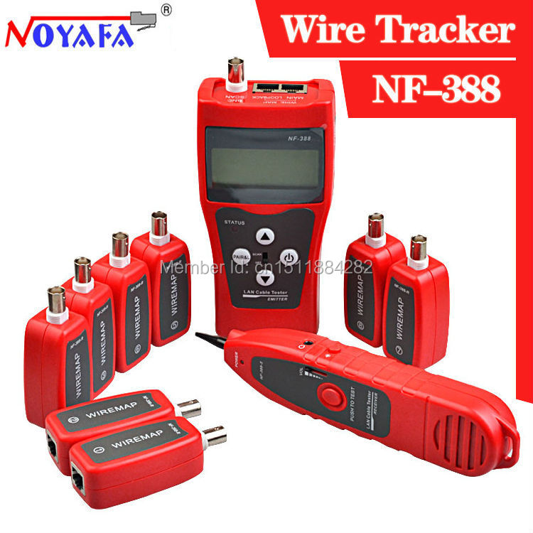Noyafa LCD Cable Tester Network LAN Ethernet Wire tester Cat6 6E Cat5E coaxial cable Tracker USB BNC RJ45 RJ11 Tester NF388(China (Mainland))