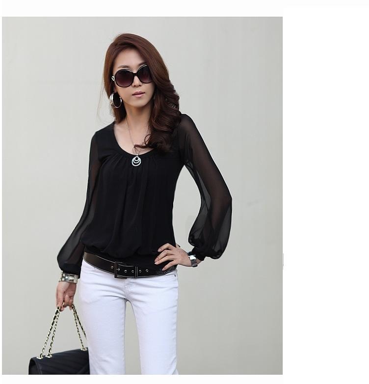 Women Casual Blusas Black Blouses O-Neck Chiffon Lace Solid Fashion Female 2015 New Plus Size women shirts - The only design studio store