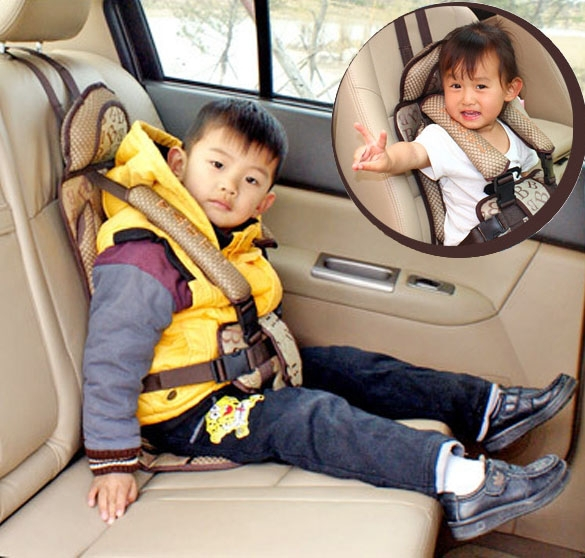 Thick New Comfortable Child Safety Seat Car Baby Seat Belt Harness Auto In Coffee(China (Mainland))