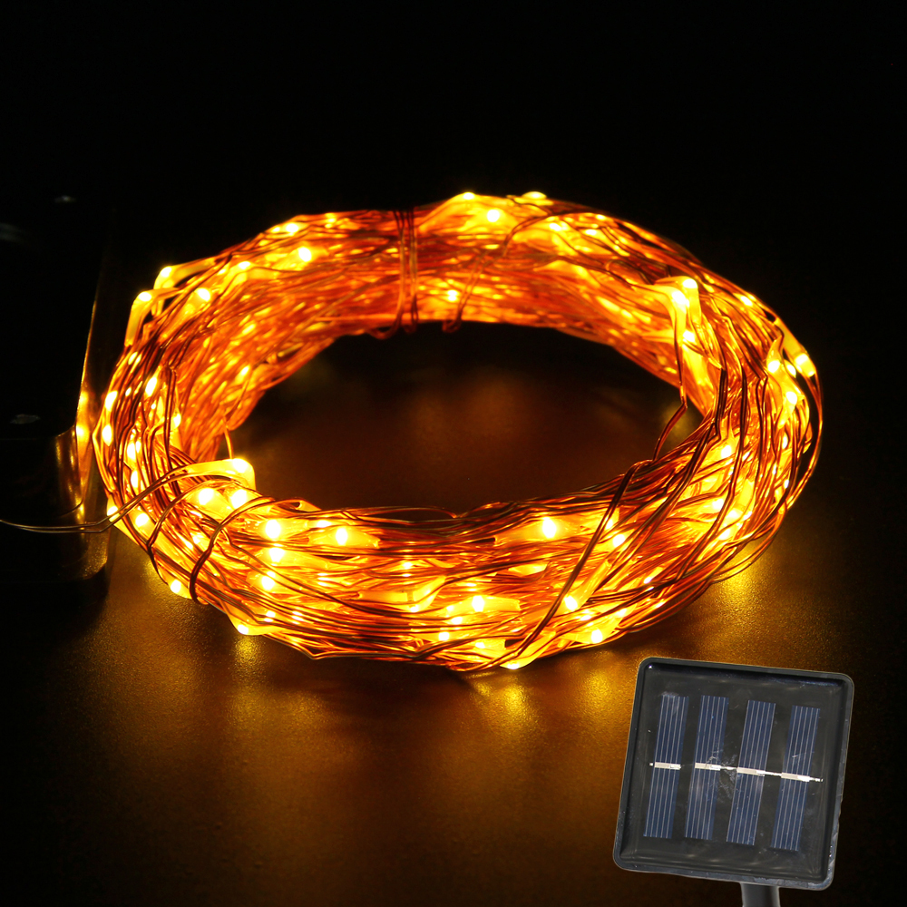 Solar string light outdoor waterproof garden copper wire Fairy lamp Wedding Xmas decoration led lights 15M(China (Mainland))