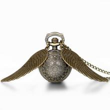 Hot New Vintage Bronze Punk Steampunk Quartz Pocket Watch Wings Long Chain Necklace Clock For Women(China (Mainland))
