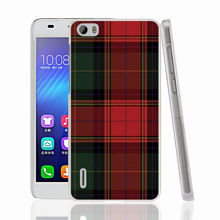 07287 RED BLUE TARTAN SCARF FASHION cell phone Cover Case for huawei honor 3C 4A 4X 4C 5X 6 7