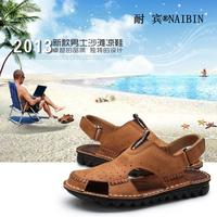 New Fashion Men Shoes Round Toe Buckle Strap Male Sandals Flats Casual Genuine Leather Men Shoes Breathable Cut-outs Sandals