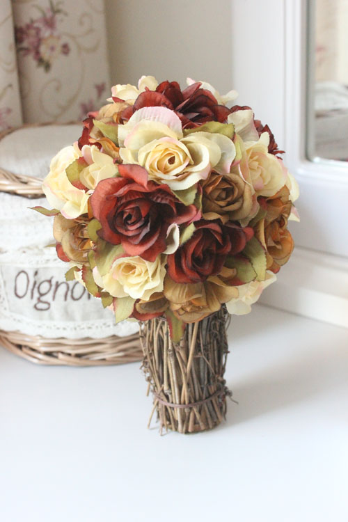 Free shipping,High-23cm,Rustic rose bouquet new house decoration artificial flower silk flower circled -,wedding decorative(China (Mainland))