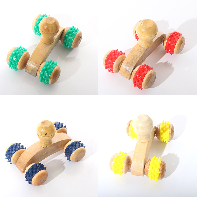 Wood Full-body Four Wheels Wooden Car Roller Relaxing Hand Massage Tool Reflexology Face Hand Foot Back Body Therapy BS(China (Mainland))