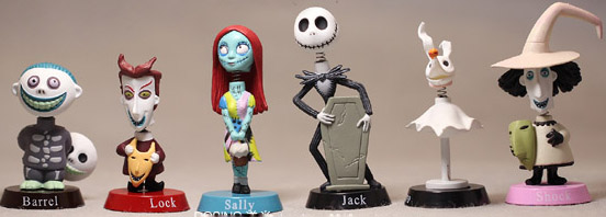 6pcs/lot Original Collection The Nightmare Before Christmas Jack Sally Barrel Lock Figure Toy Birthday Gift Home Car Decoration