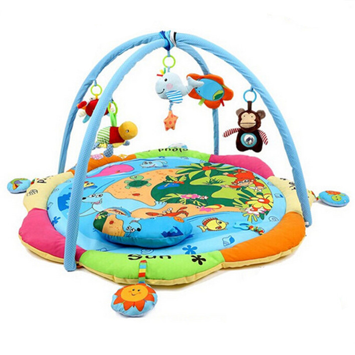 New Big size Music Playing mat baby cotton hanging hand bell rugs cartoon animal educational carpet pillow teethers Rattles toys(China (Mainland))