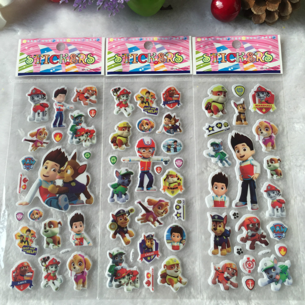 50 sheets Dog Patrol 3D Cartoon Dog Stickers Birthday Party Decoration for Kids Gifts(China (Mainland))