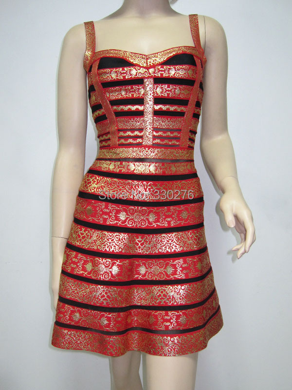 5 Colors HL Gold Foiling Print Striped Sling Bandage Dress A-line Evening Party - Monopoly bandage dress Guangzhou store