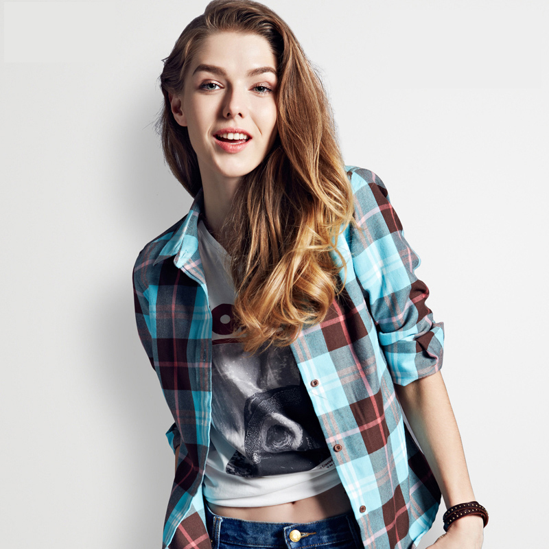 Long sleeve plaid shirts for women blouses red flannel for Girl in flannel shirt