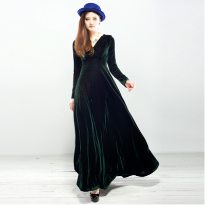 black velvet long dress plus size