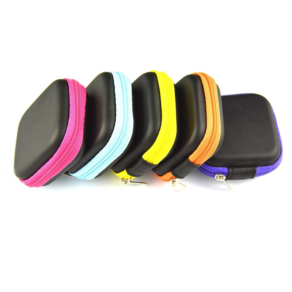 image for 5 Colors PU Leather Zipper Protective Headphone Case Pouch Earphone St