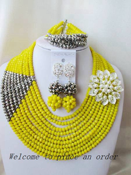 2015 Fashion Opaque Yellow african crystal beads necklace set nigerian wedding african beads jewelry set Free shipping P-1507<br><br>Aliexpress