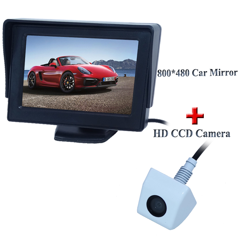 Car Parking system 4.3 inch HD High Brightness Monitor + HD 1/4 color CCD rearview Camera Reverse camera Free Shipping(China (Mainland))
