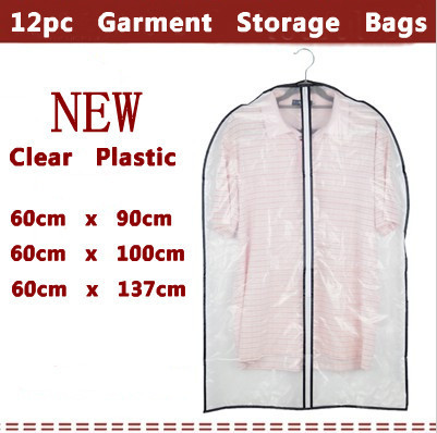Lot 12 Double Thick Strong Clear See Through Suit Gown Garment Clothing Dustproof Storage Protector Cover Bag / Dust bag