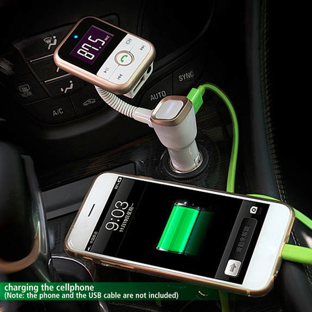 Wireless Bluetooth Car Kit + FM Transmitter + MP3 Player Support USB SD Card + 3.5mm line-in jack + USB car Charger+led display(China (Mainland))